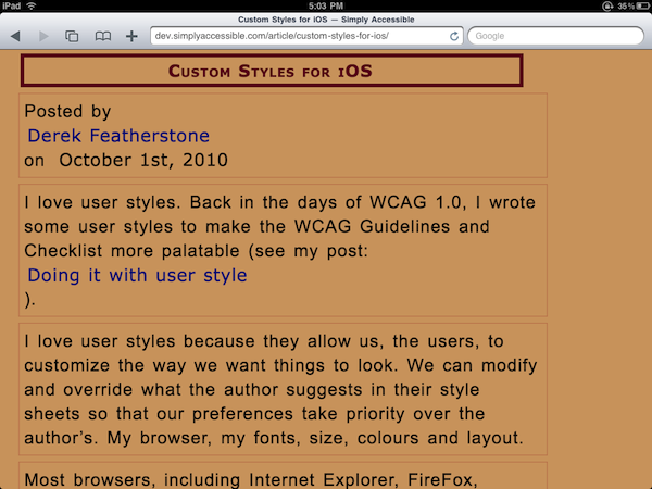 Screenshot of Simply Accessible customized with Wayne's styles