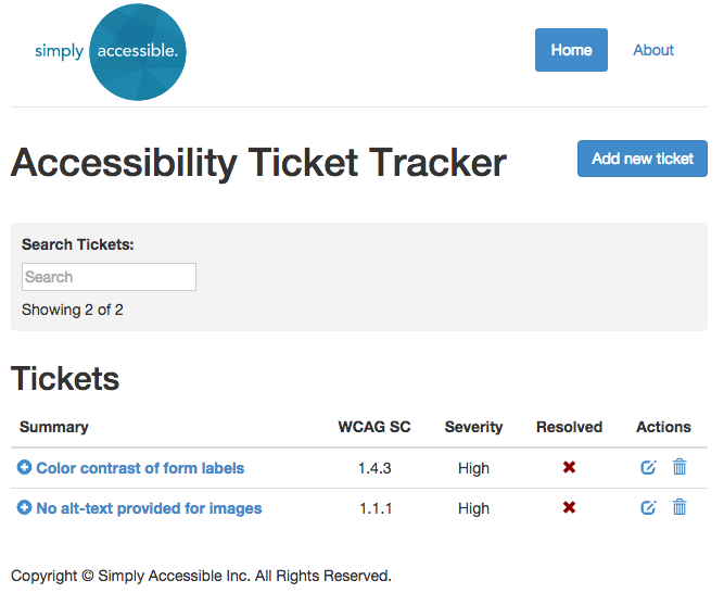 Screen shot of Accessibility Ticket Tracker Application