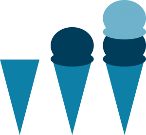 Icon depicting workflow order using a cone with ice cream added to it