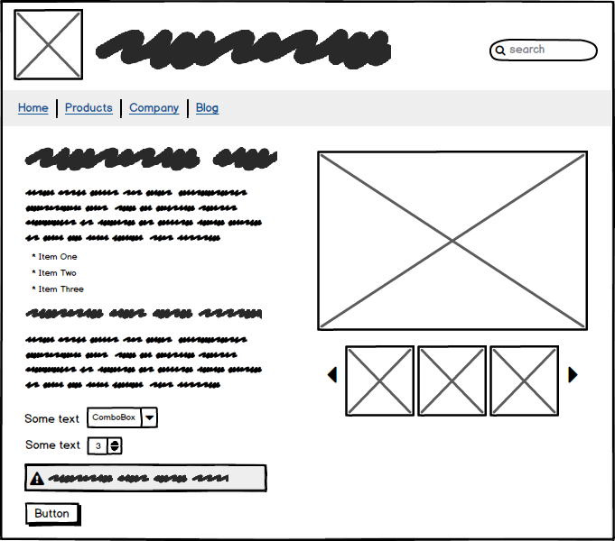 A wireframe diagram of a product page. It doesn't have readable text, but the usual site elements like menu, images and forms are distinguishable from their shapes.