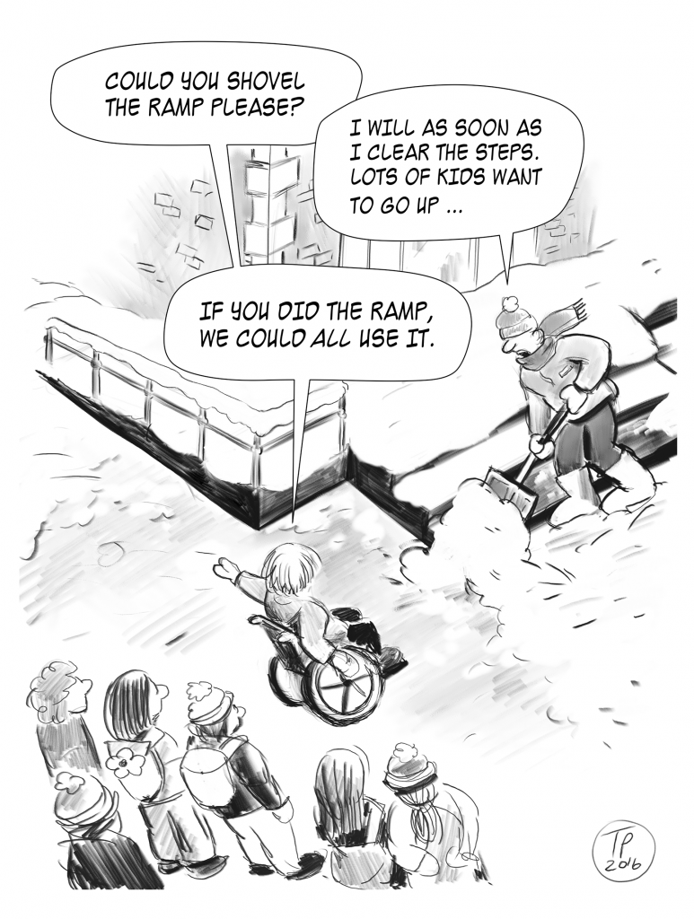 Cartoon illustration of children talking to the custodian shoveling stairs.
