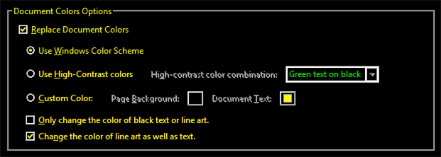 A close-up image of the colour options available to you in the Accessibility menu