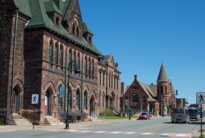 Downtown Amherst, Nova Scotia. A view of the Baptist Church and court house