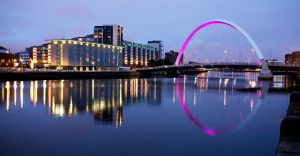 The Clyde Arc in Glasgow, Scotland at night