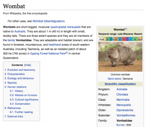 A screen capture of a Wikipedia page on wombats, clearly showing a table of contents composed of heading elements