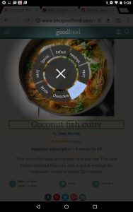 TalkBack's local context menu, shown in circular form.